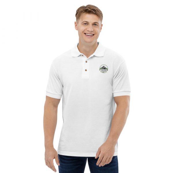 Model wearing Stoner Colorado polo shirt